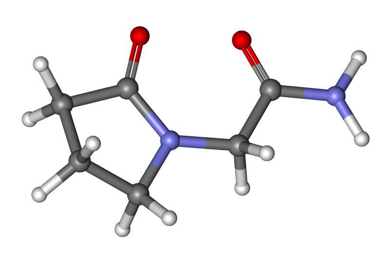 Структура молекулы Пирацетама: пирролидиновое ядро в виде колечка, общее для всех препаратов, в названии которых есть «рацетам», а также присоединенный двойной связью кислород и аминогруппа